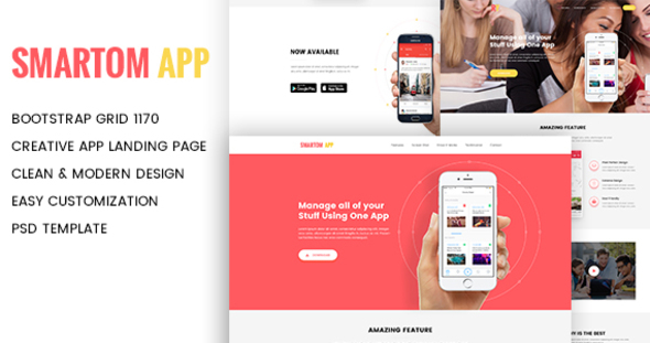 SmartomApp - App Landing PSD Template - Technology PSD Templates