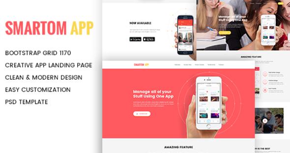 SmartomApp – App Landing PSD Template