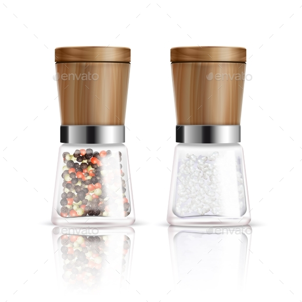 Salt and Pepper Mill Composition - Food Objects