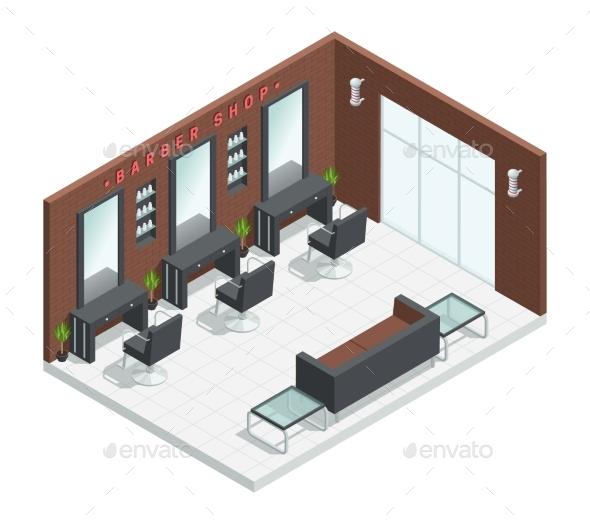 Barbershop Salon Isometric Interior - Buildings Objects