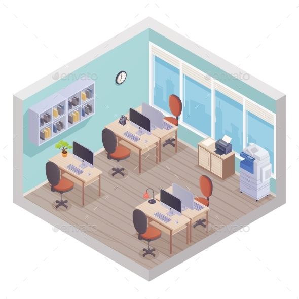 Isometric Office Interior - Buildings Objects