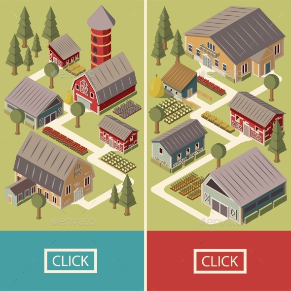 Farm Isometric Banners - Buildings Objects