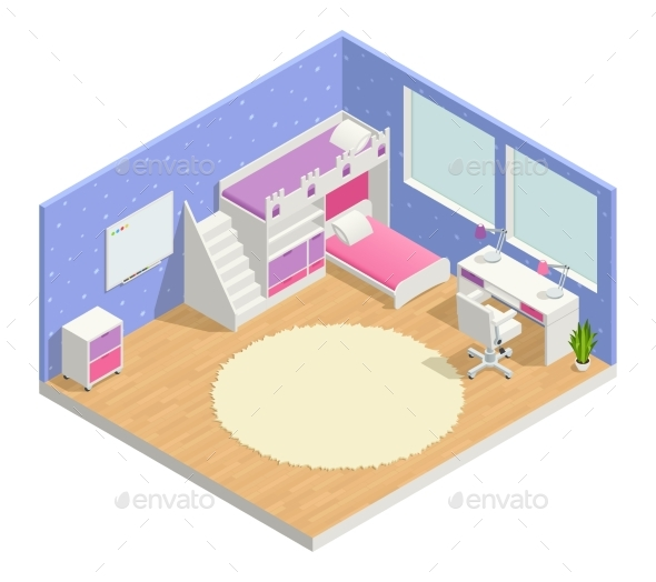 Children Room Isometric Composition - Man-made Objects Objects