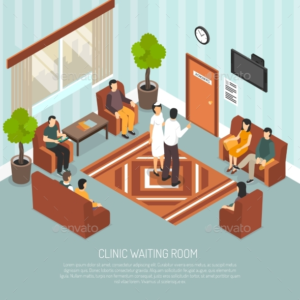 Clinic Waiting Room Isometric Illustration - Concepts Business