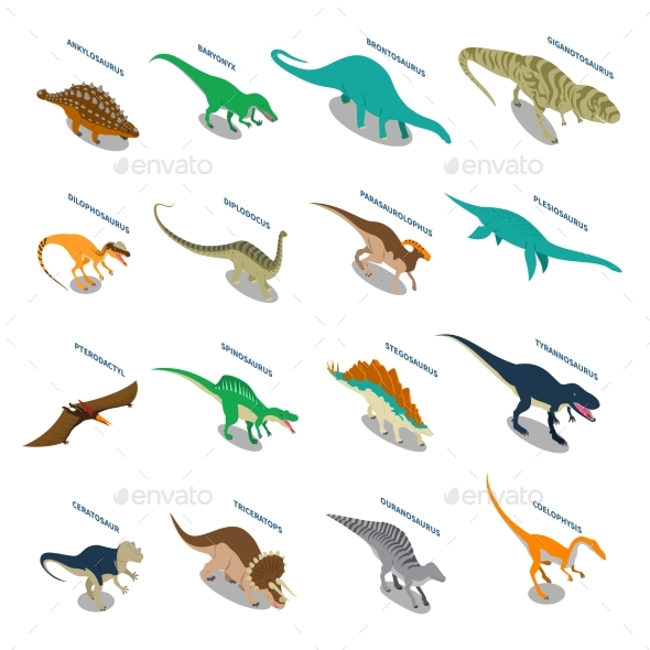 Dinosaurs Isometric Icons Set - Animals Characters