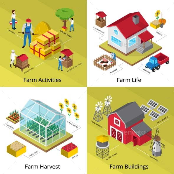 Farm Concept 4 Isometric Icons Square - Industries Business