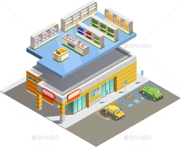Supermarket Store Building Isometric Exterior - Buildings Objects