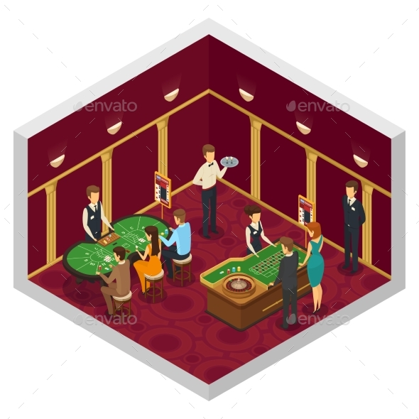 Colored Casino Isometric Interior - Miscellaneous Vectors