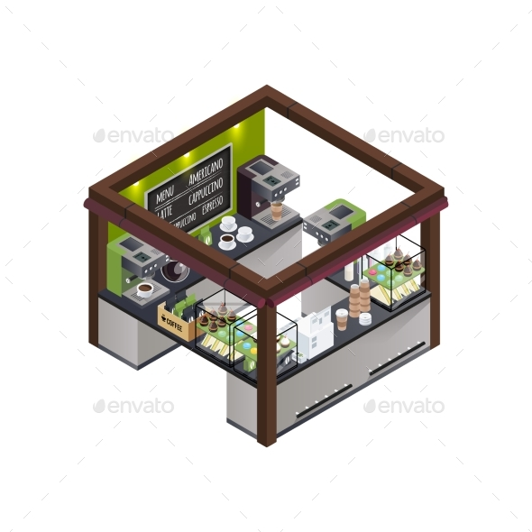 Coffee Kiosk Isometric Composition - Food Objects