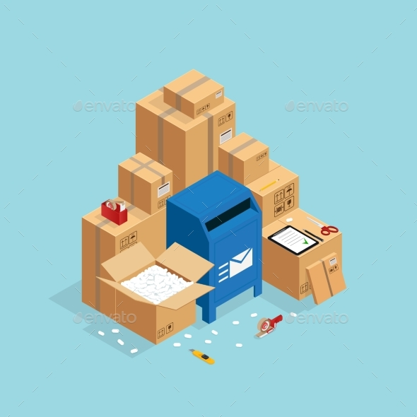 Post Boxes Isometric Composition - Miscellaneous Vectors