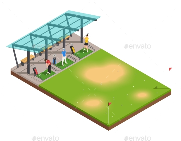 Golf Training Isometric Composition - Sports/Activity Conceptual