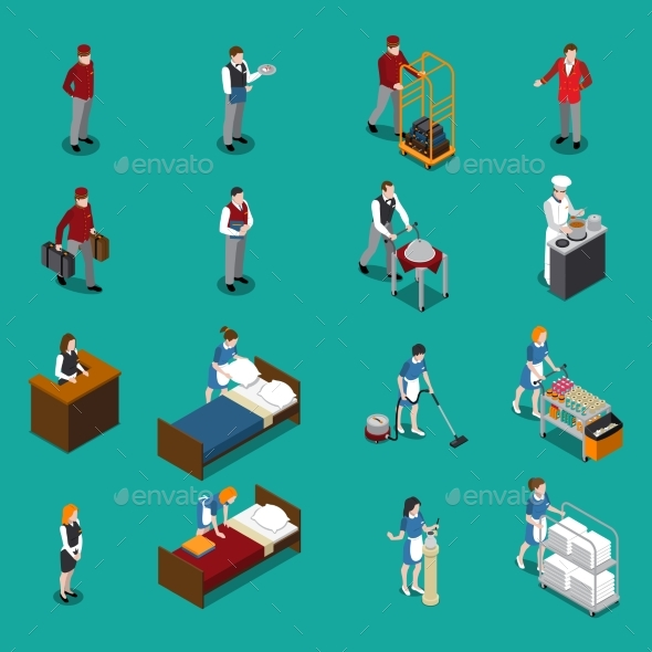 Hotel Staff Isometric Set - Services Commercial / Shopping