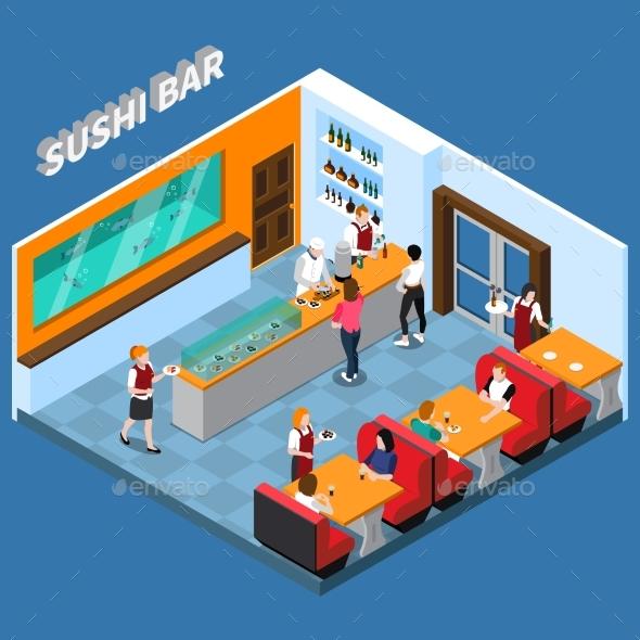 Sushi Bar Isometric Illustration - Food Objects
