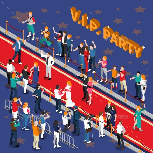 VIP Party Isometric Illustration - People Characters
