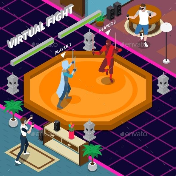 Virtual Fight Isometric Illustration - Sports/Activity Conceptual