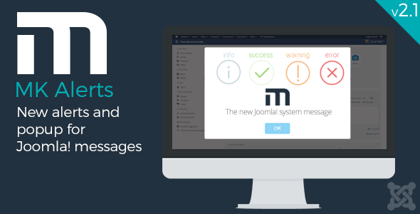 mk alerts alerts and popup system message for joomla toast materiale design style