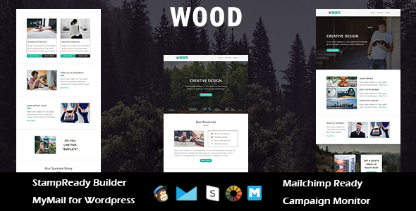 Wood – Multipurpose Responsive Email Template with Stampready Builder Access