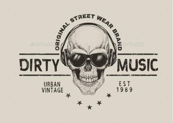 Music Fan Skull in Headphones - Miscellaneous Vectors
