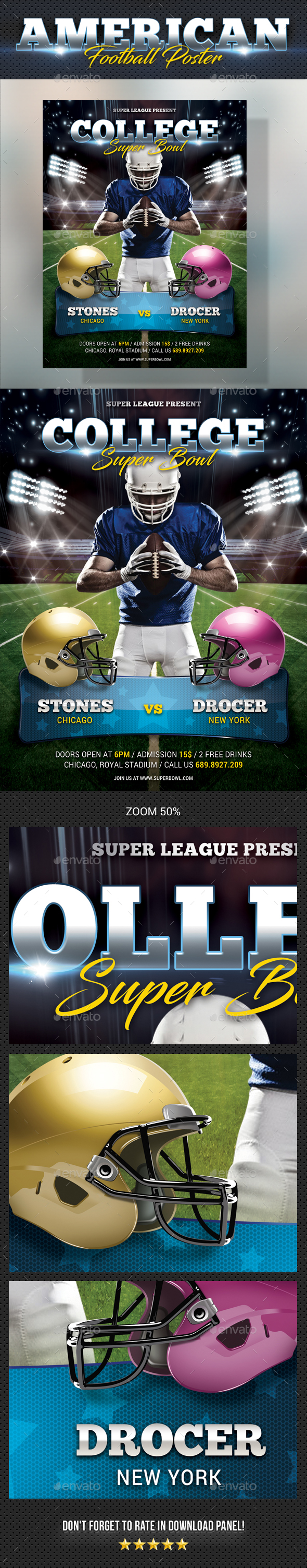American Football Poster - Signage Print Templates