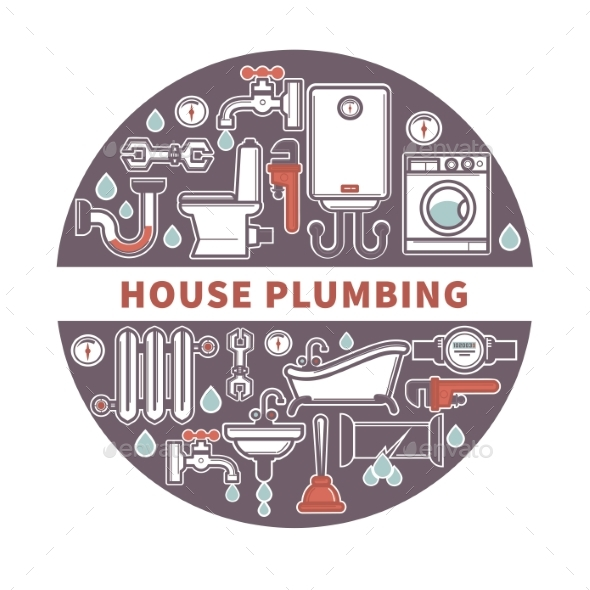House Plumbing Firm Label for Promotion Vector - Industries Business