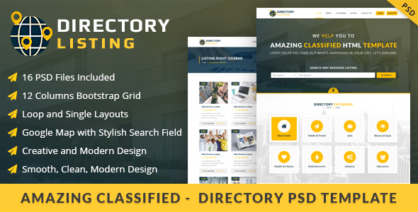 Viavi Directory Listing PSD Template - Miscellaneous PSD Templates