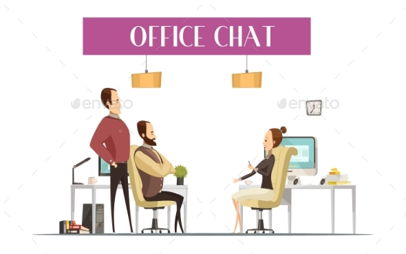 Office Chat Cartoon Style Composition - Concepts Business