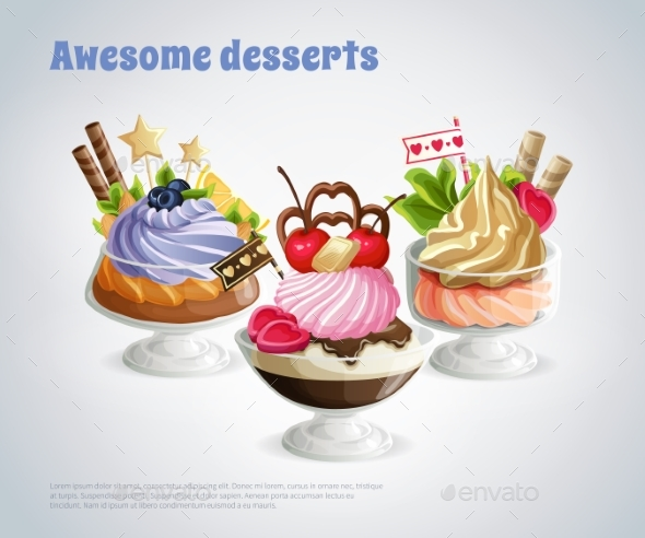 Desserts Composition - Food Objects