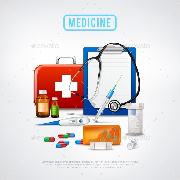 Medical Tools Kit Background - Health/Medicine Conceptual