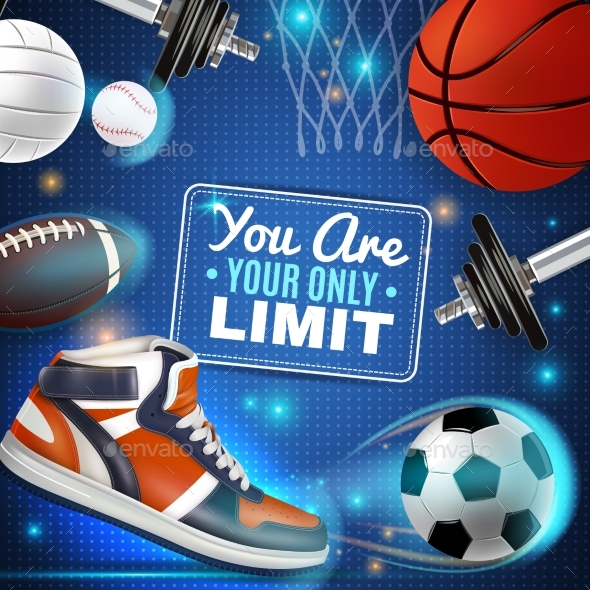 Colorful Poster with Sport Inventory - Sports/Activity Conceptual