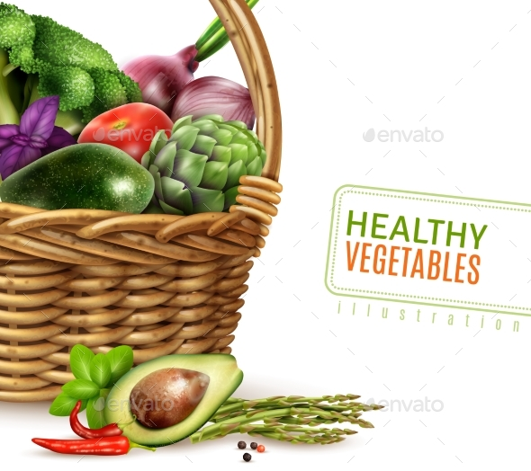 Healthy Vegetables in Basket - Food Objects