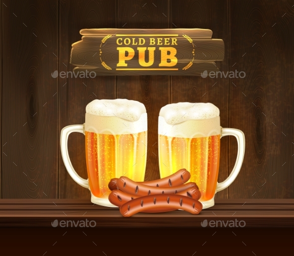 Beer Pub Illustration - Food Objects