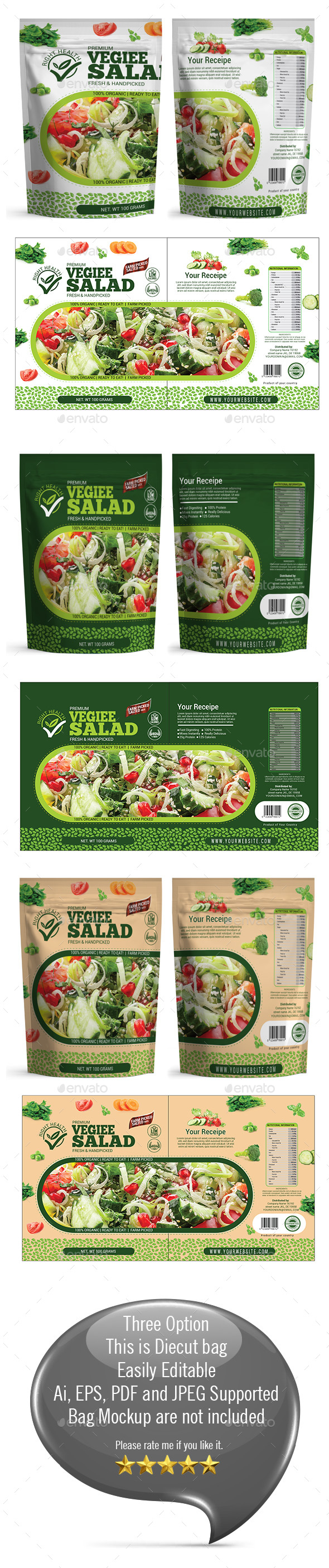 Salad Packaging Templates - Packaging Print Templates