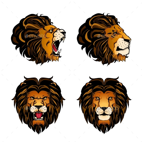 Collection of Four Colored Lion Heads - Animals Characters