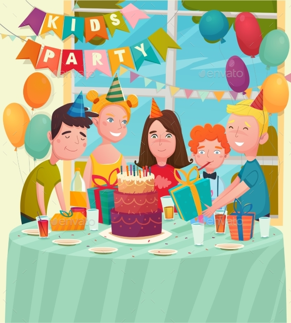 B-Day Party Children Composition - Birthdays Seasons/Holidays
