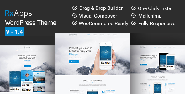 RxApps - Responsive WordPress App Landing Page - Marketing Corporate