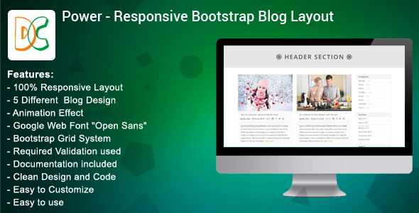 Power - Bootstrap Blog Layout Design