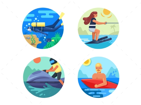 Water Sport Icon Set - Sports/Activity Conceptual