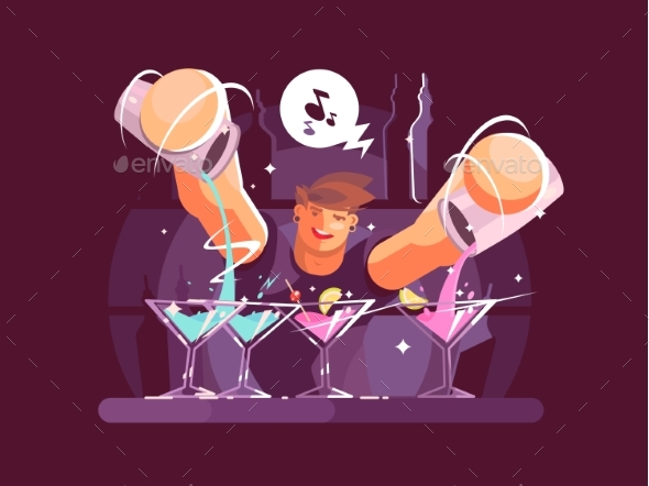 Young Bartender Pouring Drinks - People Characters