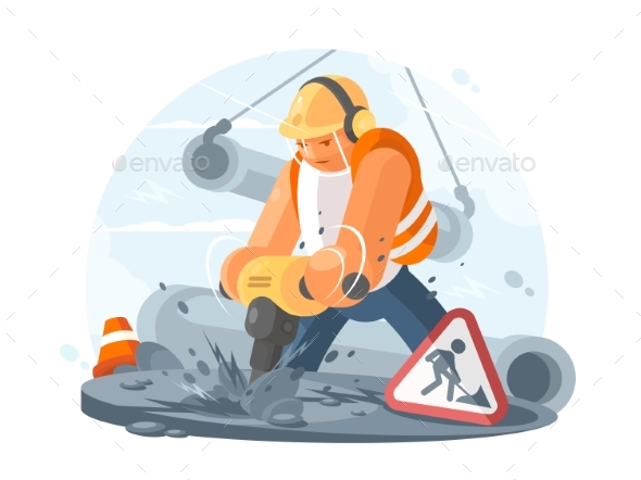 Road Worker with Puncher - People Characters