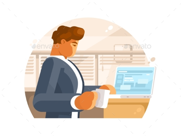 Confident Businessman in Workplace - Concepts Business