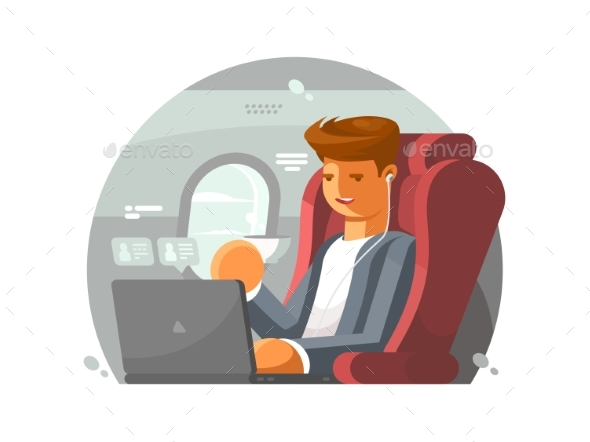 Businessman on Plane - Travel Conceptual