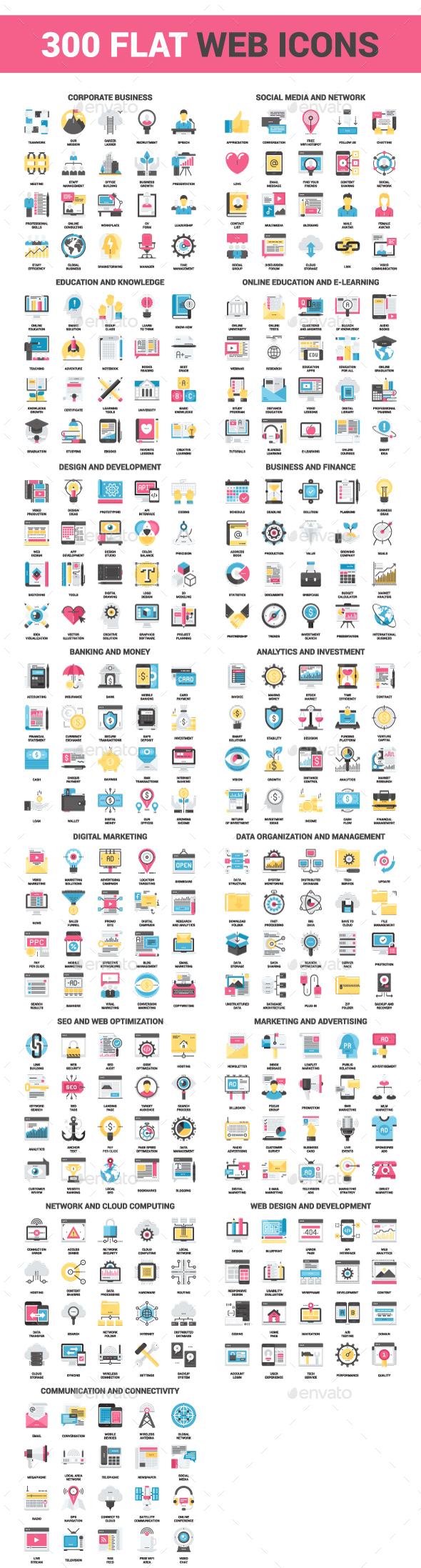 300 Flat Web Icons Bundle - Icons