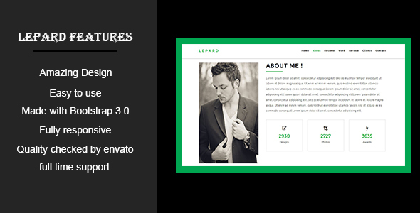 LEPARD-Personal/Portfolio HTML5 Template - Personal Site Templates