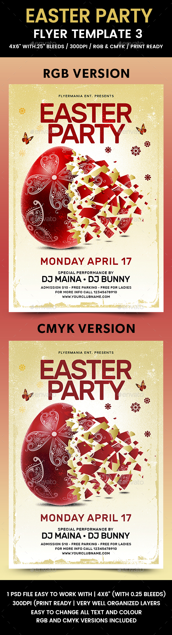 Easter Party Flyer Template 3 - Holidays Events