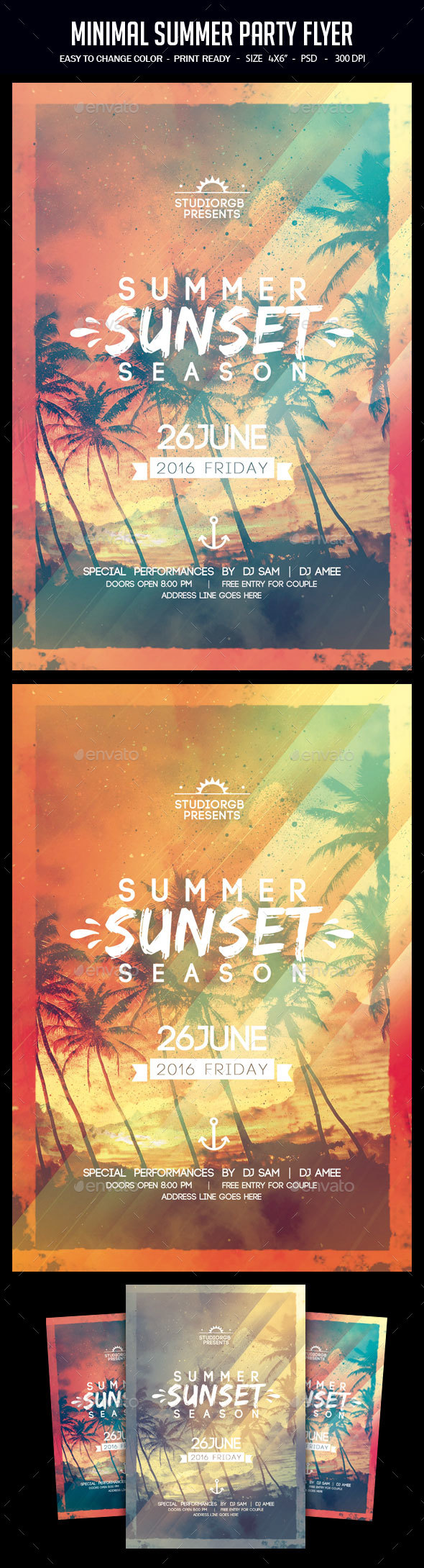 Minimal Summer Party Flyer - Clubs & Parties Events