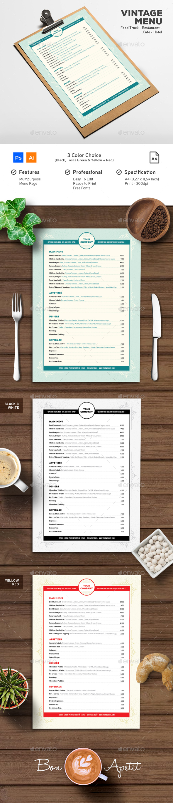 Vintage Geometric Menu - Food Menus Print Templates