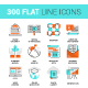 300 Flat Line Icons - GraphicRiver Item for Sale