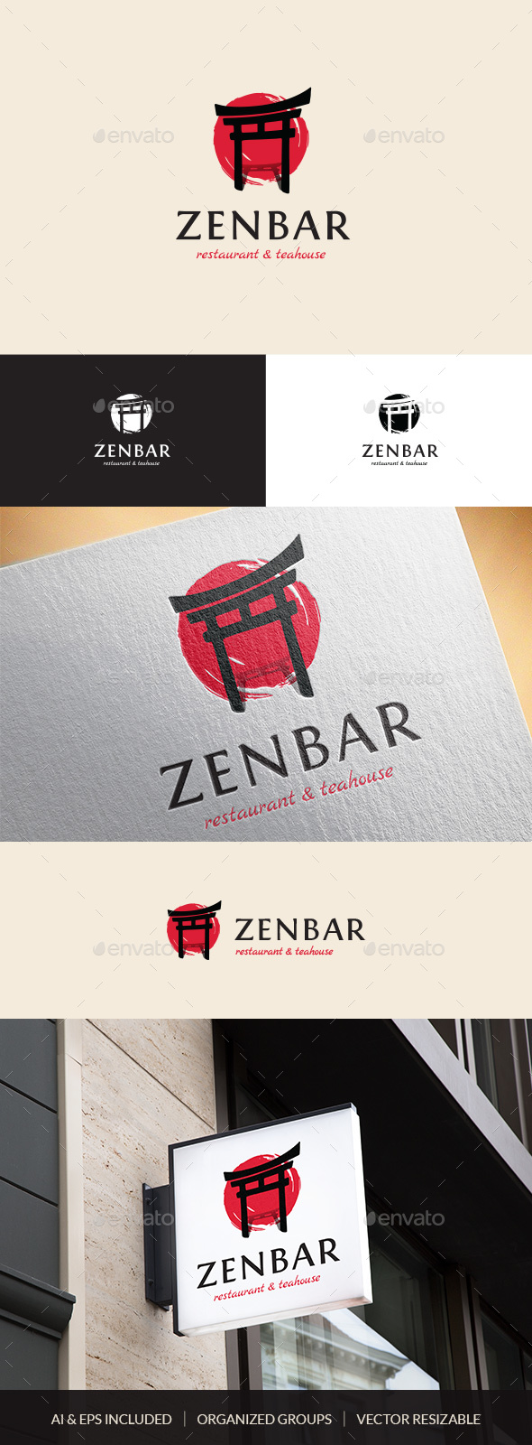 ZenBar Asian Restaurant & Teahouse Logo Template - Company Logo Templates