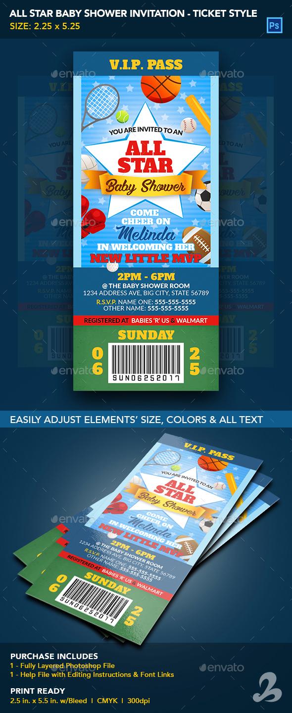 All Star Baby Shower Invitation Ticket Template - Invitations Cards & Invites
