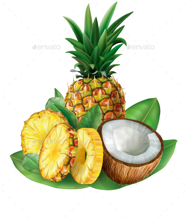 Pineapples and Cut Coconut - Food Objects